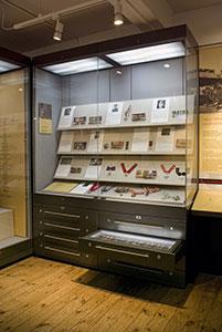 Showcase displaying various medals