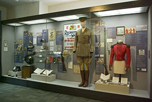 Showcase depicting various periods of Regimental service