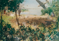 2nd Battalion, as Chindits, during operations against the Japenese at Indaw Lake, Burma, March 1944