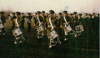 The Band and Drums 'Beat Retreat' in Leicestershire, Summer 1958.