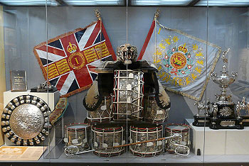 Battle Honours on the 1st Battalion's Colours, as displayed in the Regimental Museum