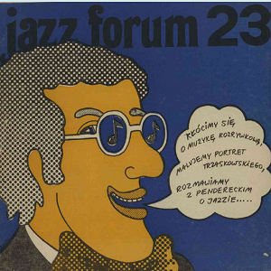 Colour graphic image of a jazz fan speaking polish from a Forum Magazine cover of 1965