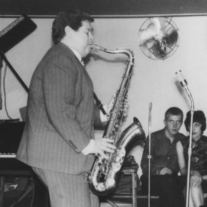 British jazz saxophone player Tubby Hayes playing in the original Ronnie Scott's nightclub on Firth Street