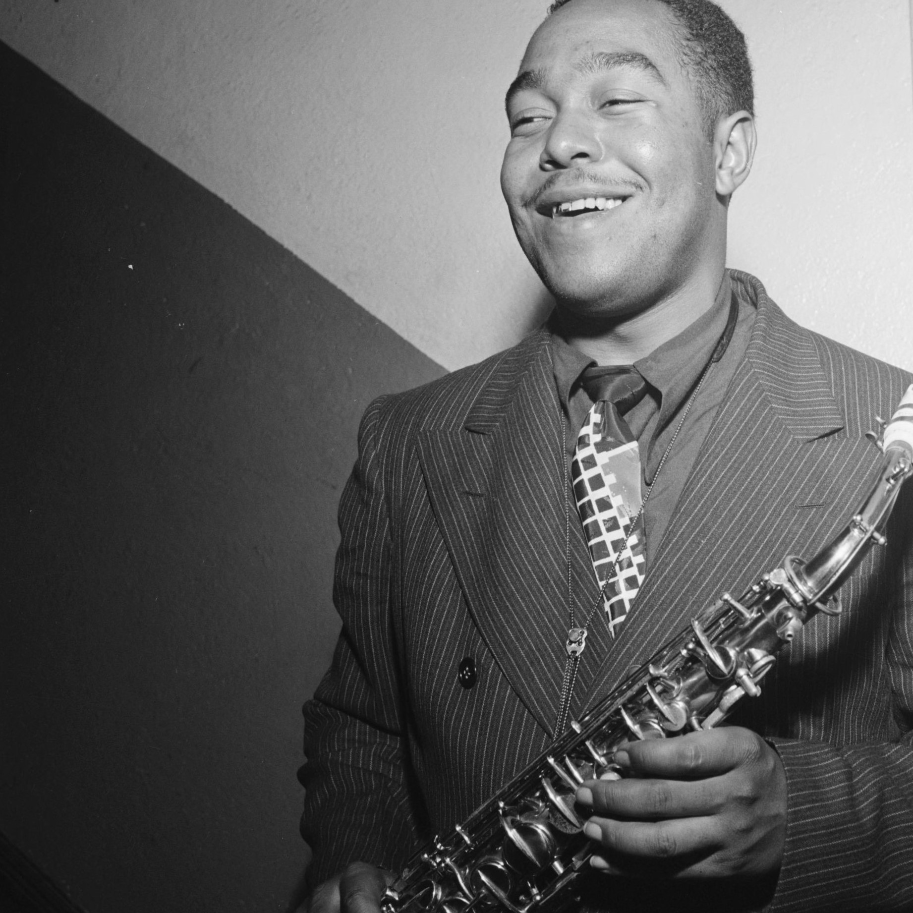 Charlie Parker with his saxophone in Carnegie Hall  in 1947 an Image from the Library of Congress