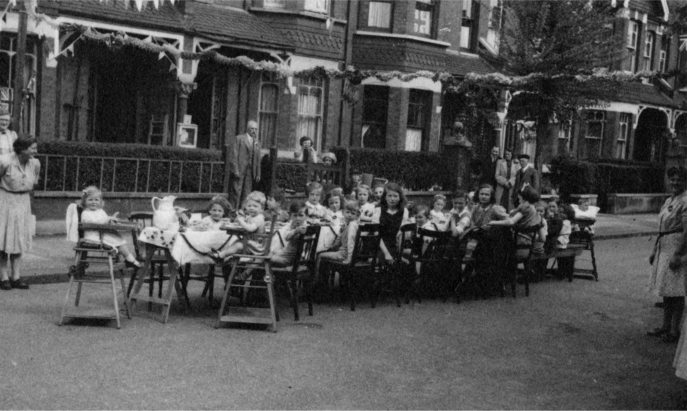 V J Party, Braemar Avenue, Wimbledon Park, 1945