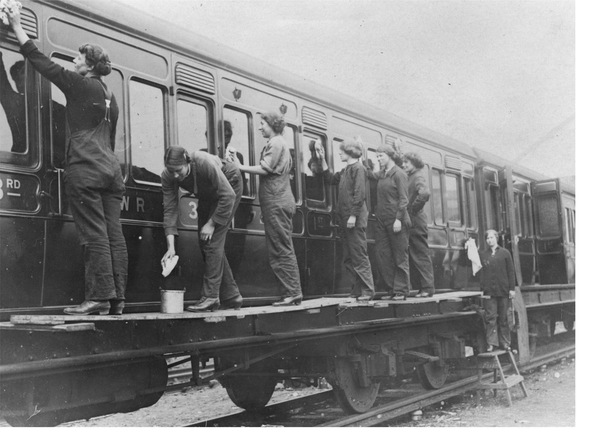 Greasers at Wimbledon Station, WW1