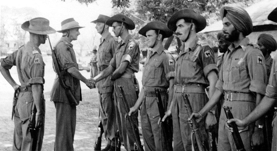 Major Messerby meeting British and indian troops