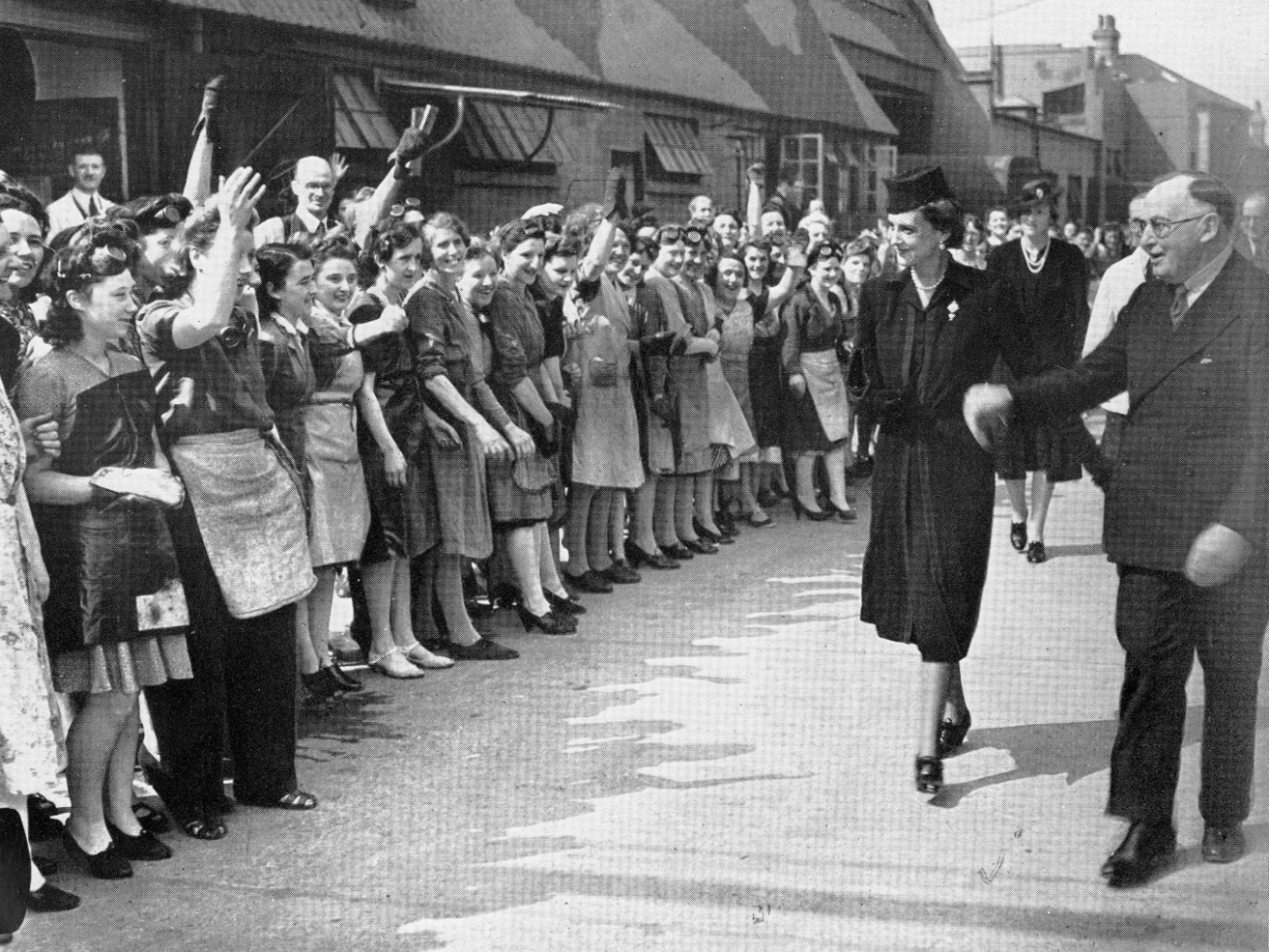 Duchess of Kent visiting Triang factory, Merton, 1943