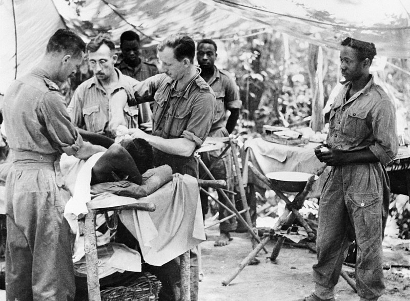 Wounded West African troops in Burma