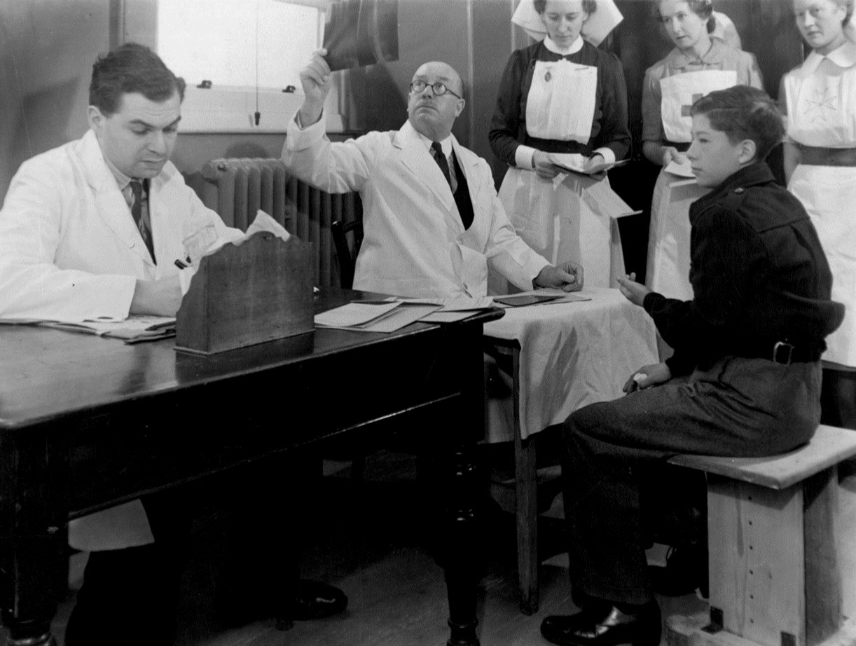 Inspecting X rays at Nelson Hospital, 1944