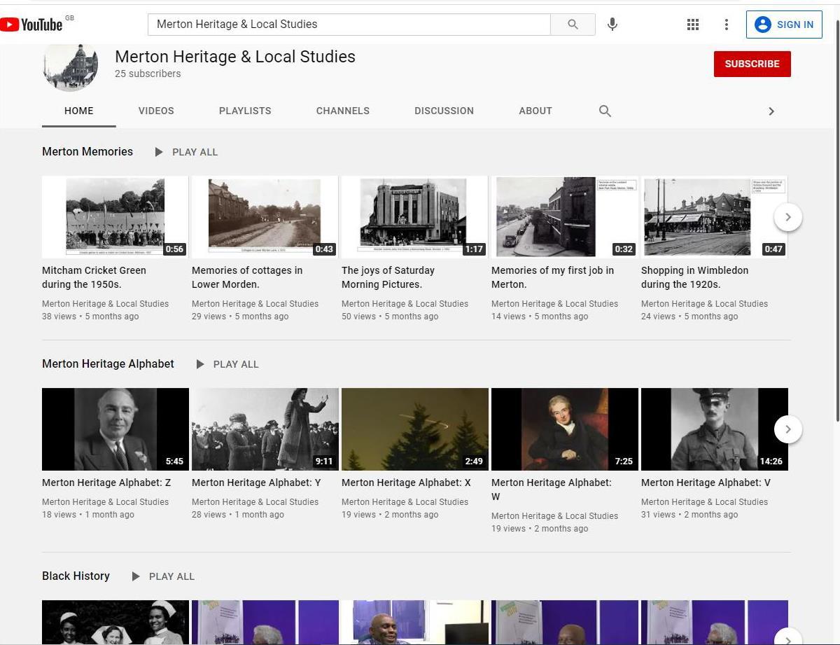 Merton Heritage & Local Studies Youtube channel